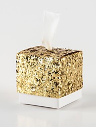 cheap -Cubic Card Paper Favor Holder with Glitter Favor Boxes - 12pcs
