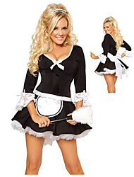 cheap -Women's Maid Costume Career Costumes Maid Uniforms Sex Cosplay Costume Party Costume Color Block Dress / Leather