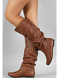 cheap -Women's Boots Fashion Boots Flat Heel Round Toe Buckle PU(Polyurethane) Mid-Calf Boots Minimalism Fall & Winter Gray / Brown / Khaki