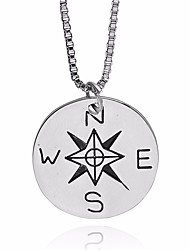 cheap -Men's Pendant Necklace Chain Necklace Coin Prince Of Wales Engraved Letter Pointer Unique Design European Inspirational Alloy Silver 50 cm Necklace Jewelry 1pc For Street Going out