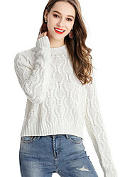 cheap -Women's Daily Basic Solid Colored Long Sleeve Regular Pullover Sweater Jumper, Round Neck Black / Wine / White S / M / L