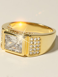 cheap -Ring Classic Gold Brass Imitation Diamond 24K Gold Plated Believe Classic Holiday Fashion 1pc 7 8 9 10 11 / Men's / Solitaire