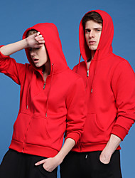 cheap -Hoodie & Sweatshirt Solid Colored Black Orange Red Blue Grey Fleece Spandex Running Fitness Gym Workout Top Plus Size Long Sleeve Sport Activewear Thermal / Warm Windproof Warm Anatomic Design Soft