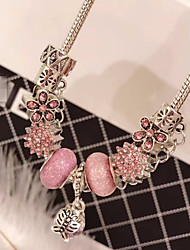 cheap -Women's Crystal Cubic Zirconia Bead Bracelet Link Bracelet Pendant Bracelet Stylish Beads Flower Butterfly Ladies Stylish Dangling Sweet Rhinestone Bracelet Jewelry Red / Blue / Pink For Going out