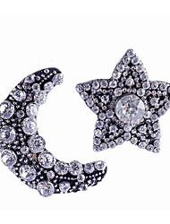 cheap -Women's Stud Earrings Mismatched Moon Star Ladies Stylish Classic Rhinestone Earrings Jewelry Silver For Daily 1 Pair