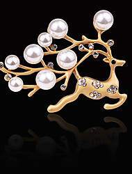 cheap -Women's Freshwater Pearl Brooches Stylish Beads Deer Creative Unique Design Elegant Fashion Brooch Jewelry Gold Silver For Daily Holiday