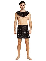 cheap -Soldier / Warrior Costume Men's Adults Highschool Ancient Greek Ancient Rome Halloween Halloween Carnival Masquerade Festival / Holiday Polyster Outfits Brown Solid Colored Halloween