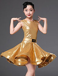 cheap -Latin Dance Dresses Girls' Performance Polyester Sash / Ribbon / Ruching Short Sleeve High Dress