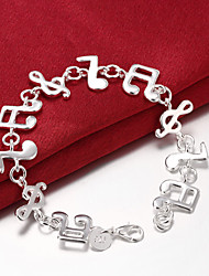 cheap -Women's Chain Bracelet Geometrical Music Music Notes Ladies Unique Design Party Fashion Brass Bracelet Jewelry Silver For Party Gift Valentine