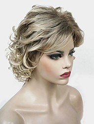 cheap -Synthetic Wig Curly Middle Part Wig Blonde Medium Length Blonde Synthetic Hair 12 inch Women's Synthetic Blonde StrongBeauty