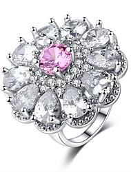 cheap -Women's Ring Belle Ring Cubic Zirconia 1pc Pink Platinum Plated White Gold Ladies Sweet Fashion Wedding Carnival Jewelry Stack Flower