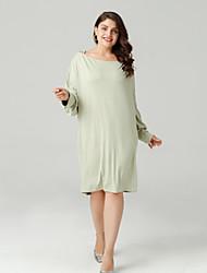 cheap -Women's Daily Slim Sheath Dress - Solid Colored Boat Neck Green Black XL XXL XXXL