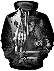 cheap -Men's Plus Size Hoodie Geometric Print Punk & Gothic / Exaggerated Long Sleeve Black S M L XL XXL XXXL / Fall