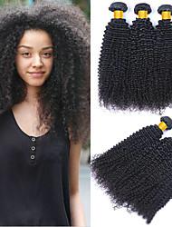 cheap -3 Bundles Kinky Curly Human Hair Unprocessed Human Hair Natural Color Hair Weaves / Hair Bulk Hair Care Bundle Hair 8-28 inch Natural Color Human Hair Weaves Smooth Fashion Thick Human Hair Extensions