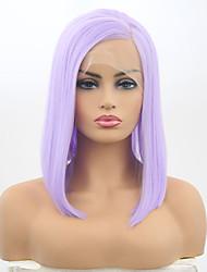 Недорогие -Синтетические кружевные передние парики Матовое стекло Стрижка боб Лента спереди Парик Короткие Фиолетовый Искусственные волосы 12 дюймовый Жен. Регулируется Жаропрочная Фиолетовый