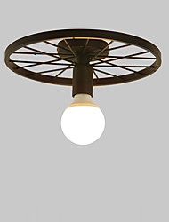 cheap -1-Light Vintage Black Metal Wheel Semi Flush Mount Ceiling Light Living Room Dining Room Lighting Painted Finish