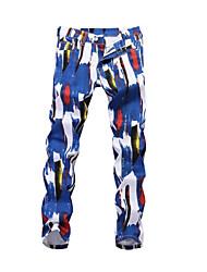 cheap -Men's Street chic Going out Club Slim Chinos Pants - Geometric Blue & White, Print Spring Fall Rainbow 34 36 38