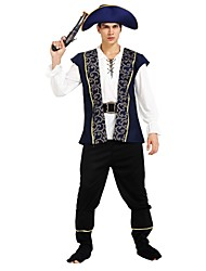 cheap -Pirates of the Caribbean Costume Men's Highschool Halloween Halloween Carnival Masquerade Festival / Holiday Polyster Outfits Ink Blue Solid Colored Halloween
