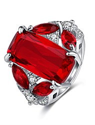cheap -Women's Statement Ring Ring 1pc Red Copper Rhinestone Platinum Plated Four Prongs Ladies Elegant Vintage Wedding Party Jewelry Vintage Style Classic Solitaire Hope Cute Cool