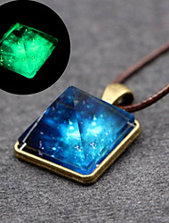 cheap -Women's Luminous Stone Pendant Necklace Classic Stylish Creative Ladies Simple Natural Fashion Leather Alloy Blue 40 cm Necklace Jewelry 1pc For Gift Daily
