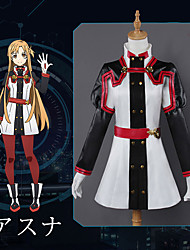 cheap -Inspired by SAO Swords Art Online Asuna Yuuki Anime Cosplay Costumes Japanese Cosplay Suits Anime Long Sleeve Top / Pants / Gloves For Women's