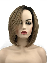 cheap -Synthetic Wig Straight Short Bob Wig Short Black / Brown Synthetic Hair 10 inch Women's Synthetic Brown