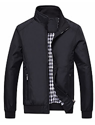 cheap -Men's Sports Fall & Winter Regular Jacket, Solid Colored Stand Long Sleeve Polyester Blue / Black