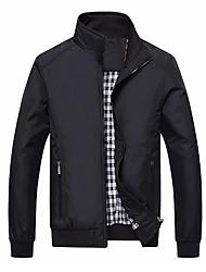 abordables -Homme Sports Automne hiver Normal Veste, Couleur Pleine Mao Manches Longues Polyester Bleu / Noir