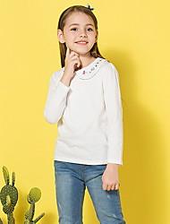 Недорогие -Дети Девочки Активный Однотонный Длинный рукав Футболка Белый