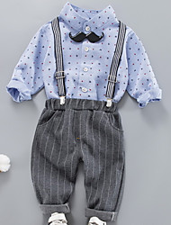 cheap -Baby Boys' Basic Daily Polka Dot Long Sleeve Regular Cotton Clothing Set Blue / Toddler
