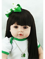cheap -NPKCOLLECTION NPK DOLL Reborn Doll Girl Doll Baby Girl 24 inch Newborn lifelike Gift Hand Made Child Safe Non Toxic Kid's Girls' Toy Gift / Artificial Implantation Brown Eyes / Hand Applied Eyelashes