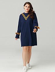 cheap -Women's Daily Basic T Shirt Dress - Color Block Print Crew Neck Spring Cotton Navy Blue XXXL XXXXL XXXXXL