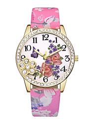 cheap -Women's Wrist Watch Quartz Leather Black / Blue / Red Casual Watch Analog Ladies Flower Fashion - Blue Pink Light Green