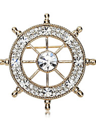 cheap -Men's Cubic Zirconia Brooches Classic Stylish Creative Anchor Luxury Fashion British Brooch Jewelry Gold / White Silver-Blue White / Sliver For Party Daily