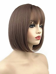 cheap -Synthetic Wig Straight Short Bob Wig Short Auburn Brown Natural Black Synthetic Hair 10 inch Women's Synthetic Black Brown
