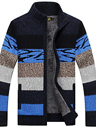 cheap -Men's Daily Solid Colored Long Sleeve Regular Cardigan Sweater Jumper, Crew Neck Light gray / Orange / Blue M / L / XL