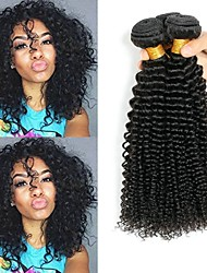 cheap -3 Bundles Indian Hair Kinky Curly Human Hair Unprocessed Human Hair Natural Color Hair Weaves / Hair Bulk Hair Care Bundle Hair 8-28 inch Natural Color Human Hair Weaves Smooth Fashion Thick Human