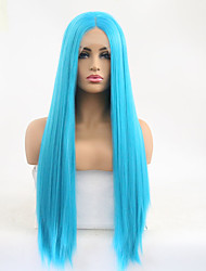 cheap -Synthetic Lace Front Wig Straight Minaj Style Middle Part Lace Front Wig Blue Sky Blue Synthetic Hair 24 inch Women's Adjustable / Heat Resistant Blue Wig Long / Yes