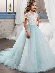 cheap -Princess Long Length Wedding / Party / Pageant Flower Girl Dresses - Lace / Tulle Short Sleeve Jewel Neck with Appliques / Splicing