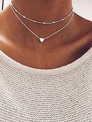 cheap -Women's Charm Necklace Bead Necklace Layered Stylish Heart Ladies Simple Classic Vintage Copper Gold Silver 46 cm Necklace Jewelry 1pc For Daily Going out