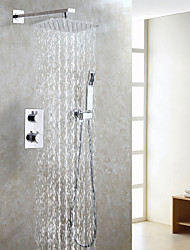 cheap -Contemporary Thermostat Shower Faucet Set / Air Drop Water Saving Bath Rain Shower Head / Bathroom Mixer Valve / Hand Shower Included / Chrome Bath Shower Mixer Taps