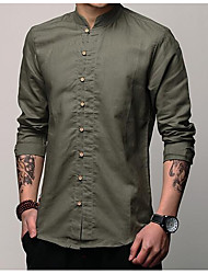 cheap -Men's Daily Cotton / Linen Shirt - Solid Colored Dark Gray / Short Sleeve