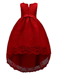 cheap -Kids Girls' Sweet Cute Party Holiday Solid Colored Sleeveless Knee-length Asymmetrical Dress Red / Cotton