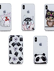 cheap -Case For Apple iPhone X / iPhone 8 Plus / iPhone 8 Transparent Back Cover Animal Soft TPU