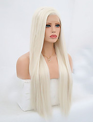 cheap -Synthetic Lace Front Wig Straight Side Part Lace Front Wig Blonde Long Platinum Blonde Synthetic Hair 24-26 inch Women's Adjustable Heat Resistant Blonde