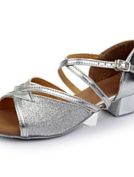 cheap -Women's Dance Shoes Patent Leather Latin Shoes Splicing Sandal / Heel Thick Heel Customizable Silver / Performance / Practice / EU38