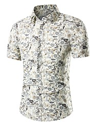 cheap -Men's Daily Going out Active / Street chic Plus Size Slim Shirt - Geometric Print Beige / Short Sleeve
