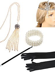 cheap -The Great Gatsby Charleston Vintage 1920s Roaring Twenties Roaring 20s Costume Accessory Sets Flapper Headband Women's Artistic Style Costume Head Jewelry Pearl Necklace Black / Golden / Black+Sliver