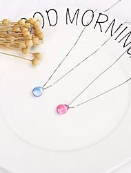 Недорогие -Жен. Кристалл Ожерелья-цепочки Ожерелье с шармом Стильные Ссылка / цепочка Капля «Груша» Дамы Стиль Простой Элегантный стиль Стекло Стерлинговое серебро S925 Синий Розовый 43 cm Ожерелье Бижутерия 1шт