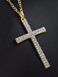 cheap -Men's Cubic Zirconia tiny diamond Pendant Necklace Chain Necklace Classic Cuban Link Cross Stylish Classic Trendy Rhinestone Alloy Gold 60 cm Necklace Jewelry 1pc For Street Festival